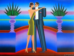 The Dance, Signed Lithograph, Art Deco, Neon Blue Color