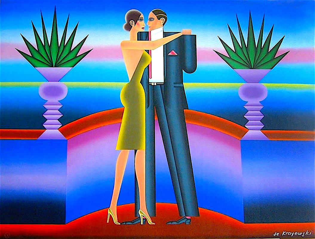 THE DANCE Signed Lithograph, Dancing Deco Couple, Neon Purple, Green, Red, Blue