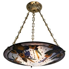 Andre Delatte Nancy 1920s Art Deco Enameled Glass Chandelier