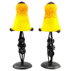 Andre Delatte Pair of French Art Deco Lamps, Late 1920s