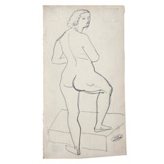 Andre Derain Female Nude Pencil Drawing