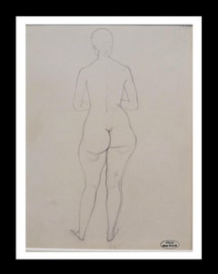 Desnudo de espalda, original pencil drawing painting