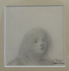Small head in pencil. original drawing painting