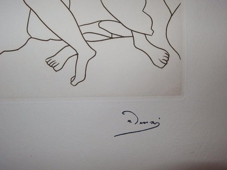 A Curious Place : What Happens Here ? - Original etching - 1951 - Print by André Derain
