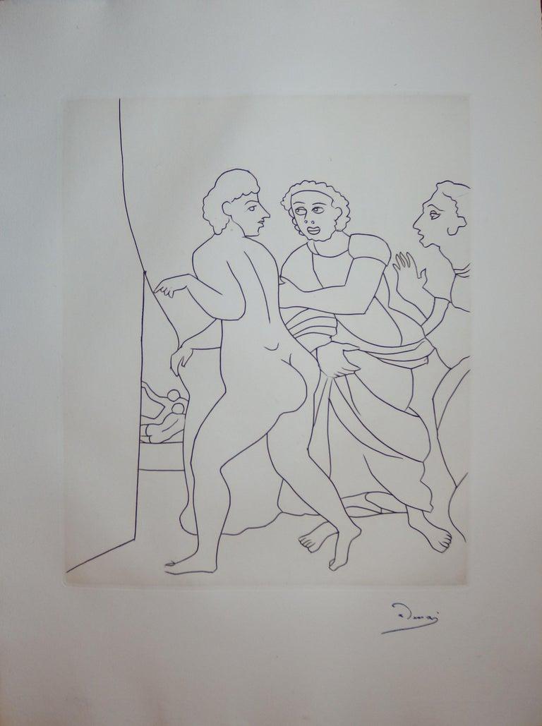 André Derain Figurative Print - A Curious Place : What Happens Here ? - Original etching - 1951