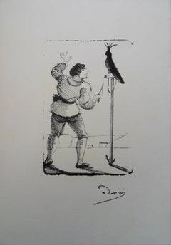 Man with a Parrot - Original lithograph, 1950