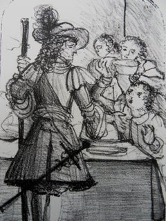 Musketeer And Children - Lithograph, 1950