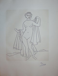 Nude Woman after the Bath  - Original etching - 1951