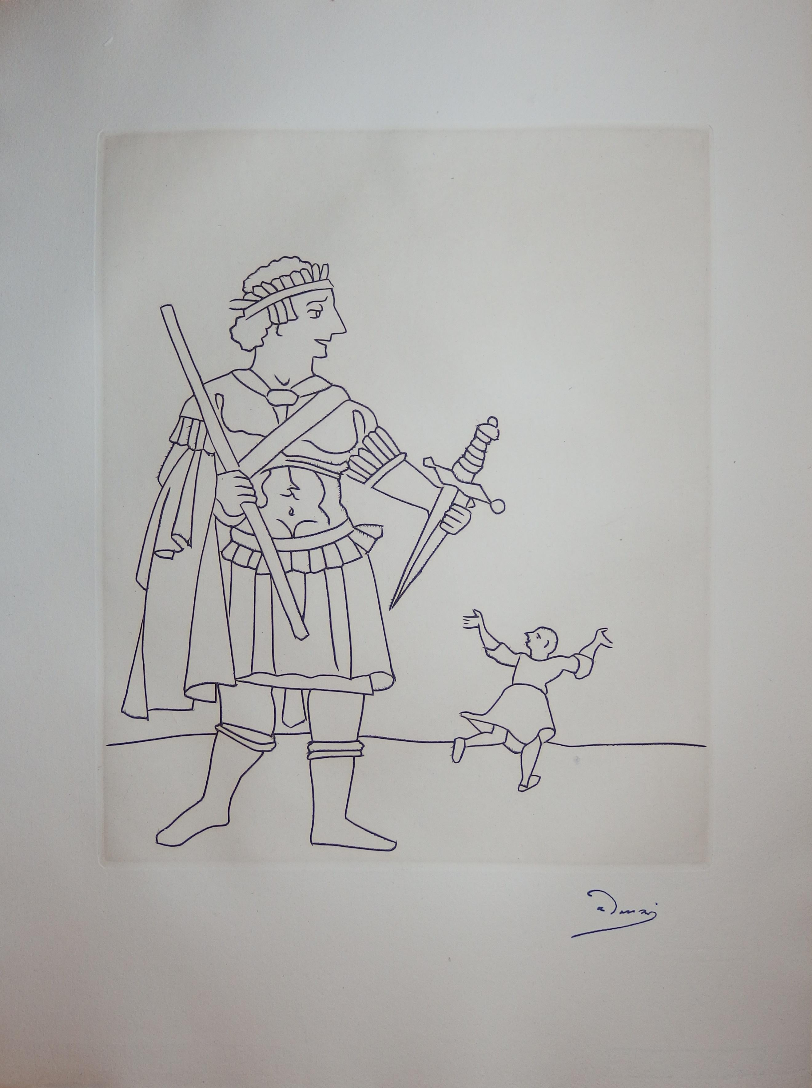 Soldier and Afraid Man - Original etching - 1951