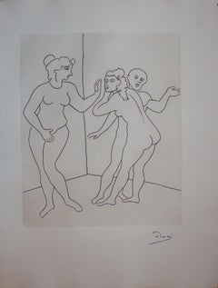 Surprised Lovers - Original etching - 1951