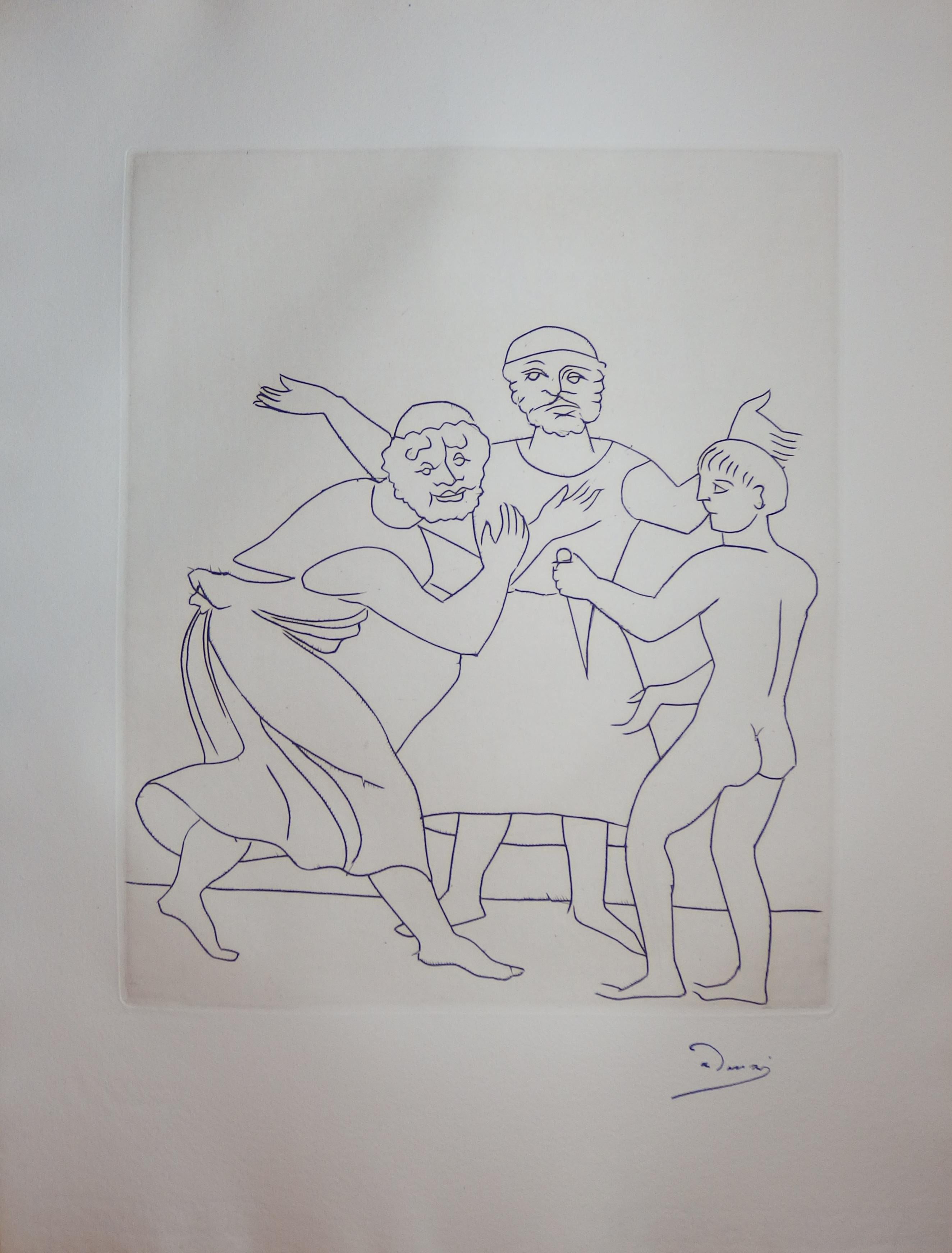 The Fight - Original etching - 1951
