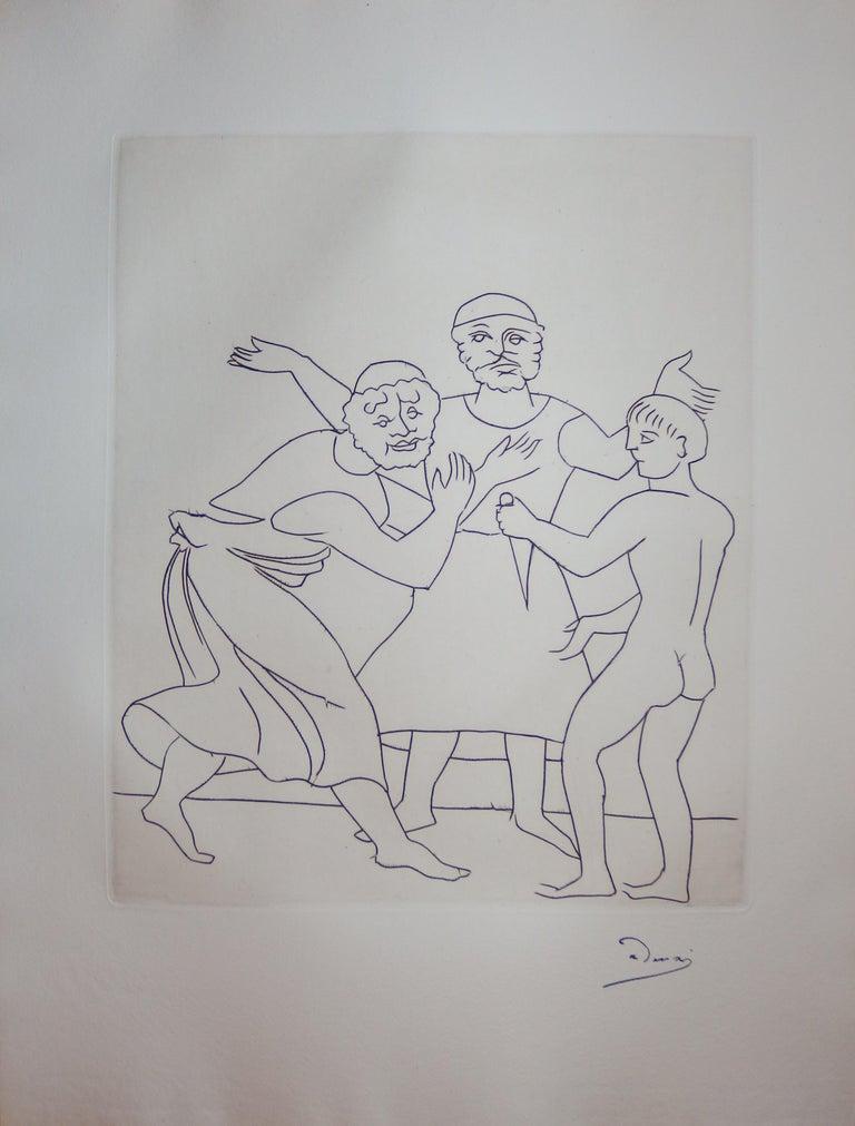 André Derain Figurative Print - The Fight - Original etching - 1951