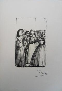 The Nuns Going to the Prayer - Original lithograph, 1950