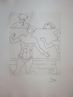 The Wrestlers - Original etching - 1951