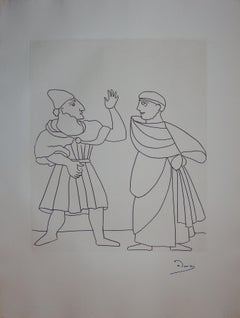 Two Men Discussing - Original etching - 1951