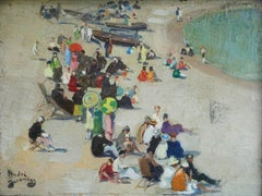 Bathers on the Beach - 19th Century French Oil Figures in Landscape by Devambez