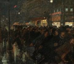 Demonstrators - Boulevard Poissonniere 1904 - 19th Century Oil, Andre Devambez