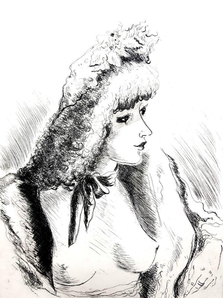 André Dignimont - Belle Epoque Portrait - Original Etching - Modern Print by André Dignimont