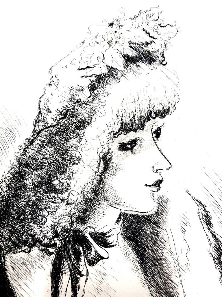André Dignimont - Belle Epoque Portrait - Original Etching - Gray Figurative Print by André Dignimont
