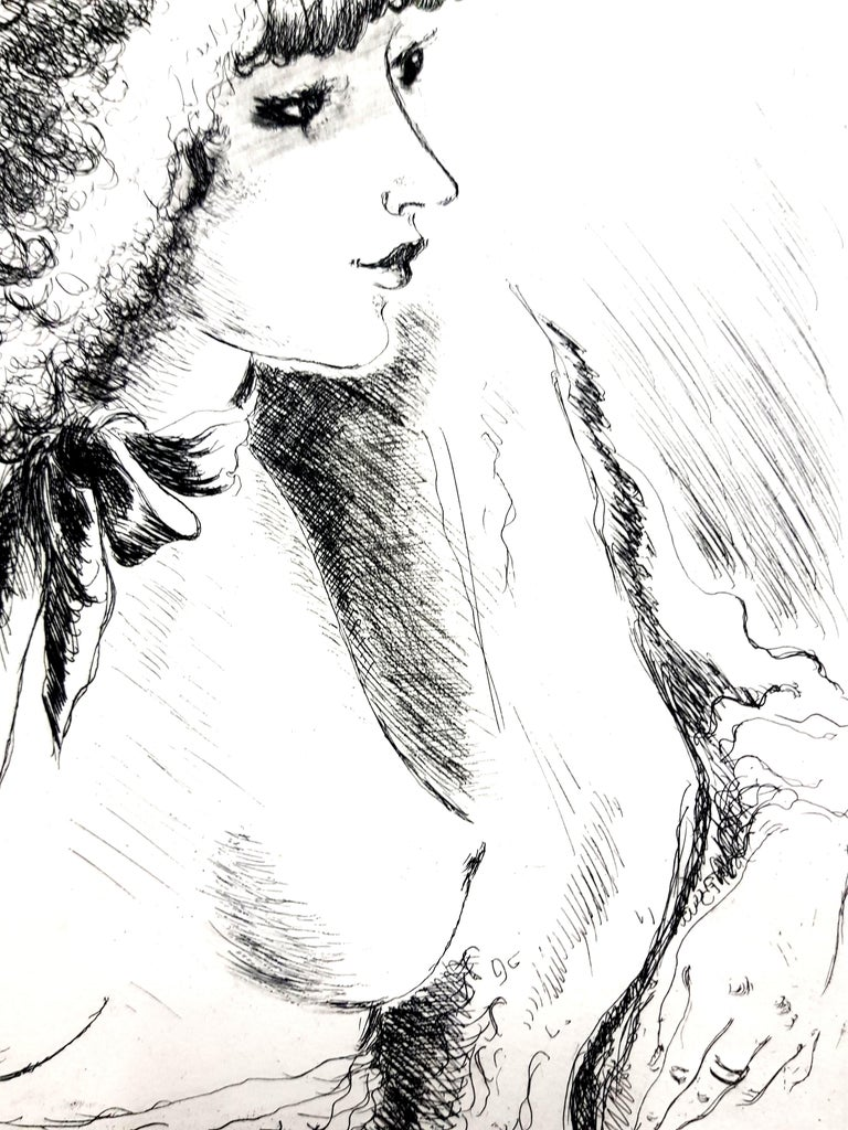 André Dignimont - Belle Epoque Portrait - Original Etching Paris, Le Gerbier, 1946 Edition of 340  André Dignimont was born in Paris. He studied at the College of Juilly, worked for a time in London, then returned to Paris to study at Académie