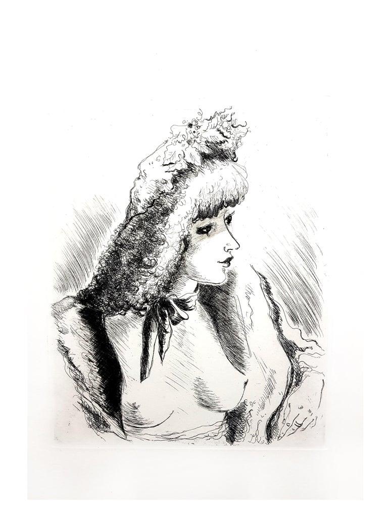 André Dignimont - Belle Epoque Portrait - Original Etching For Sale 3