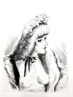 André Dignimont - Belle Epoque Portrait - Original Etching