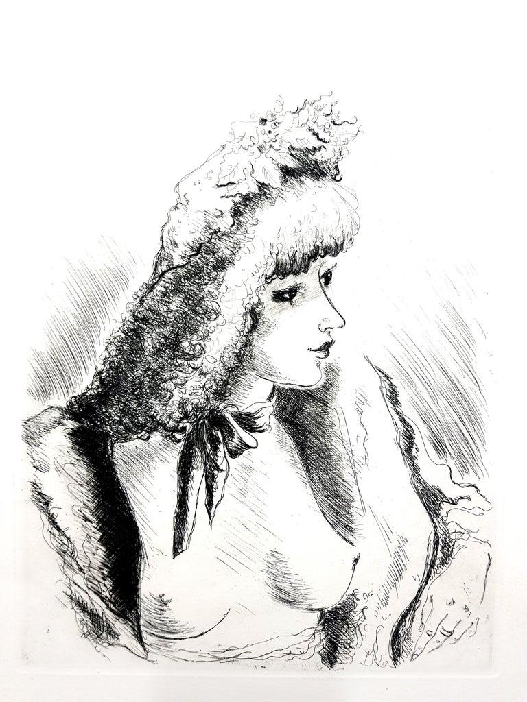 André Dignimont - Belle Epoque Portrait - Original Etching - Print by André Dignimont
