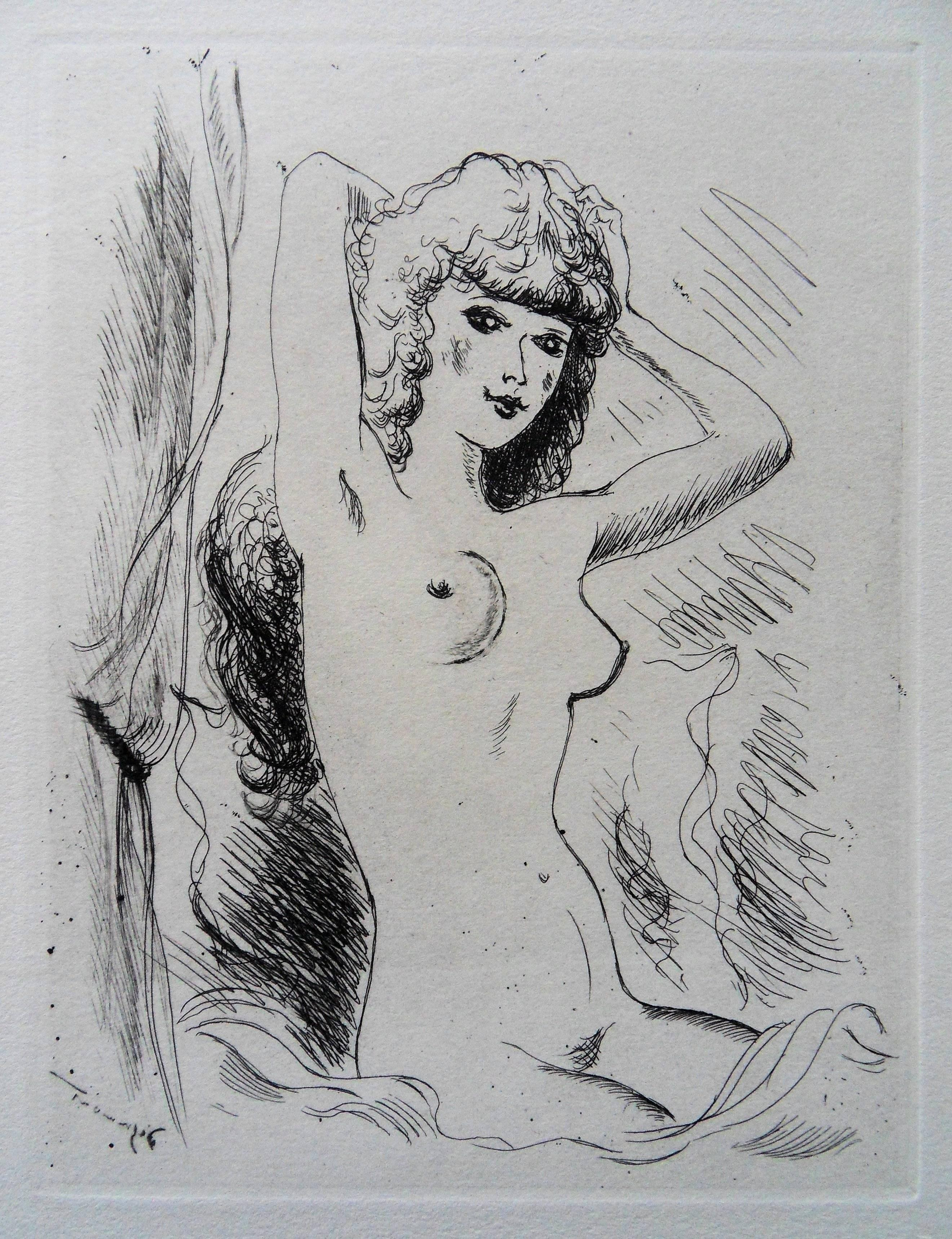 Nude Styling Herself - Original etching, 1943