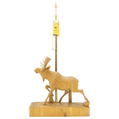 Andre Dube Carved Wood Moose Lamp