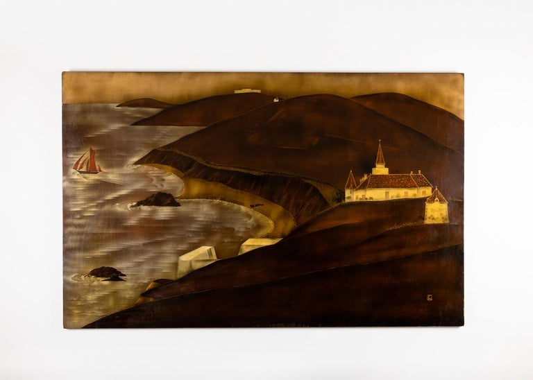 This grand, sepia toned lacquer panel depicts a scene off the coast of Normandy. Recreated from an elevated perspective, the scene a boat a-sail, a great church and waves crashing up on the rocky, verdant shore.   Labeled on verso: Envoi de M