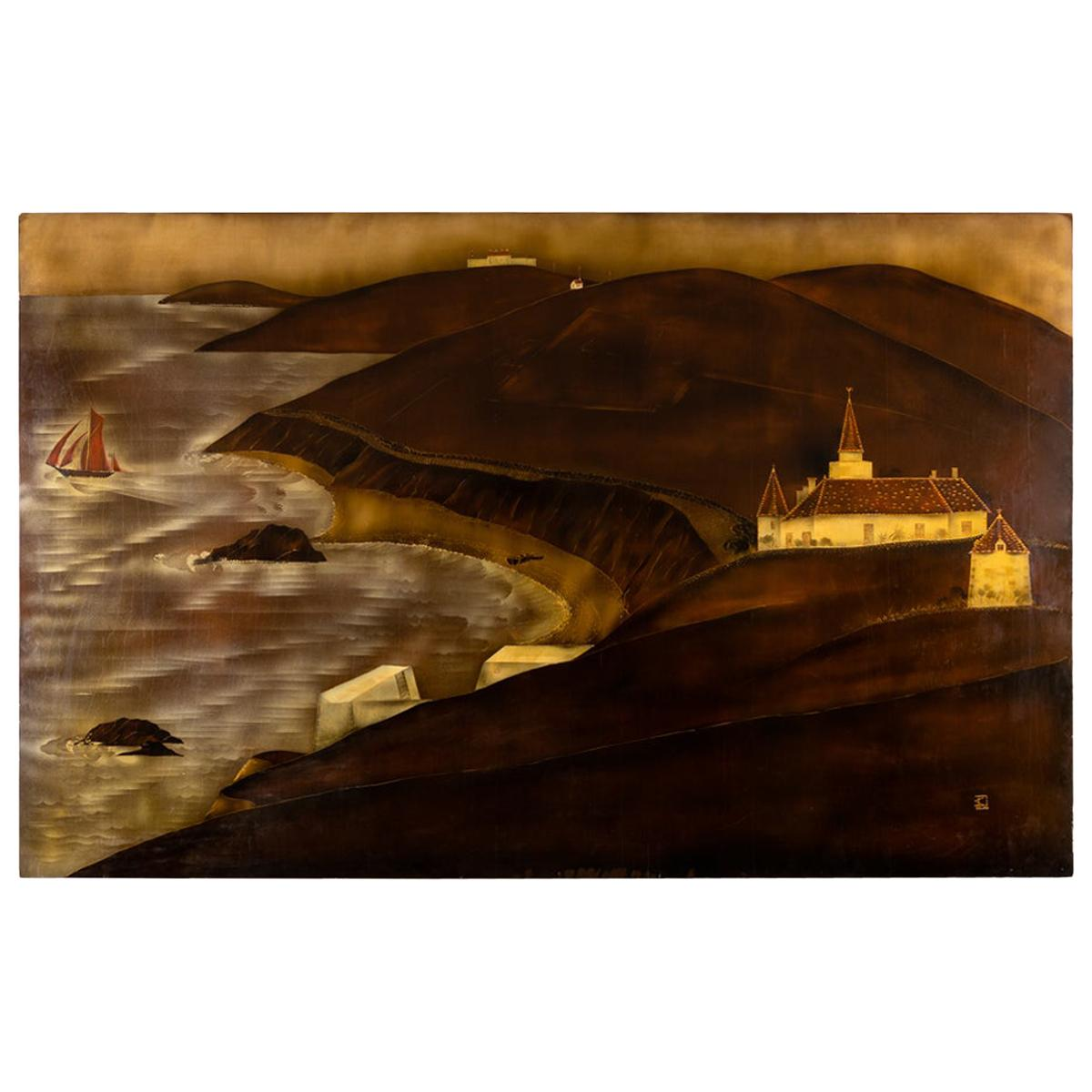 André Ducuing, Panel Depicting a Seaside in Normandy, France, circa 1920s