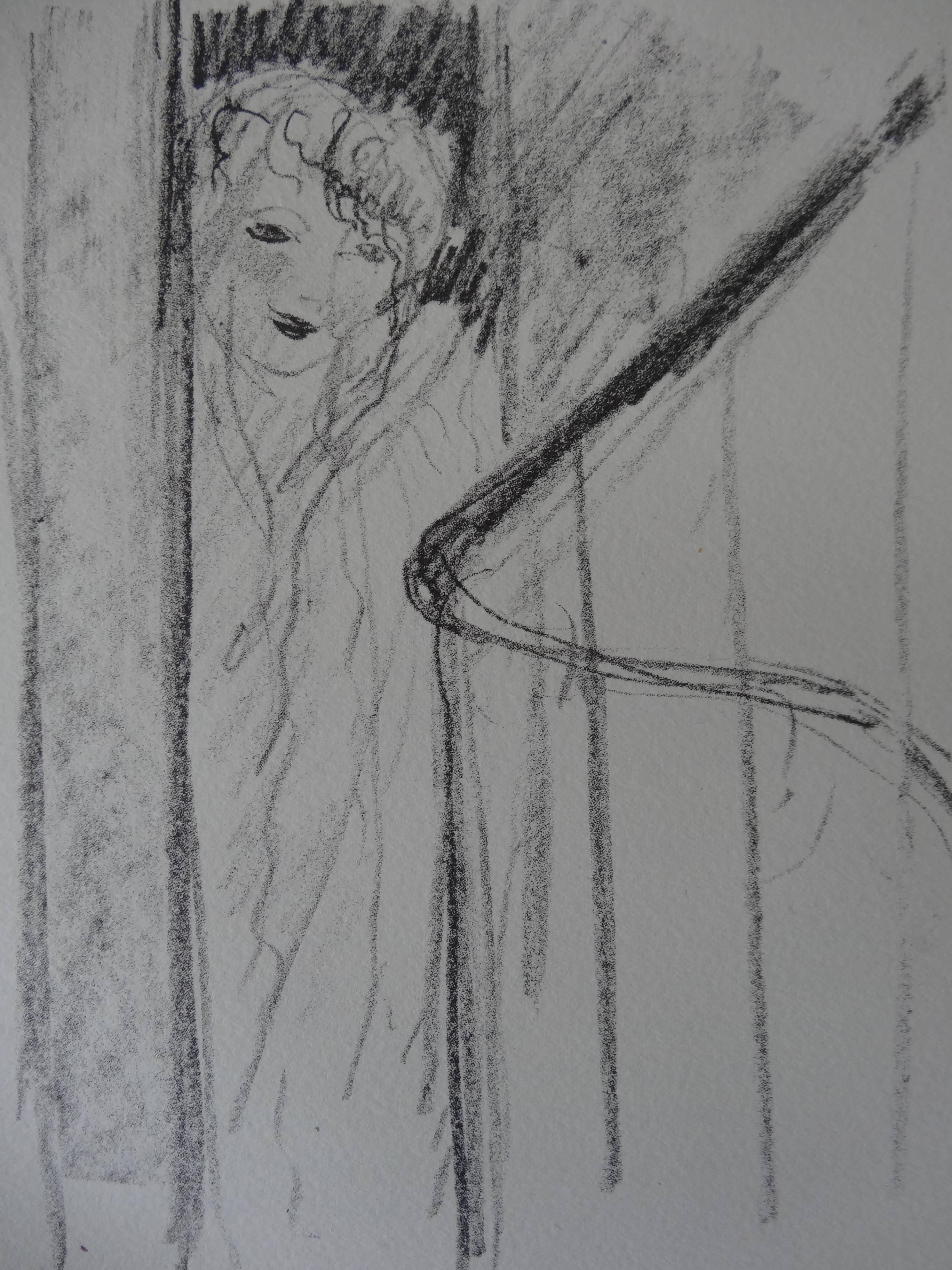 Divine : Young Girl Hidden by the Curtains - Stone lithograph, 1930