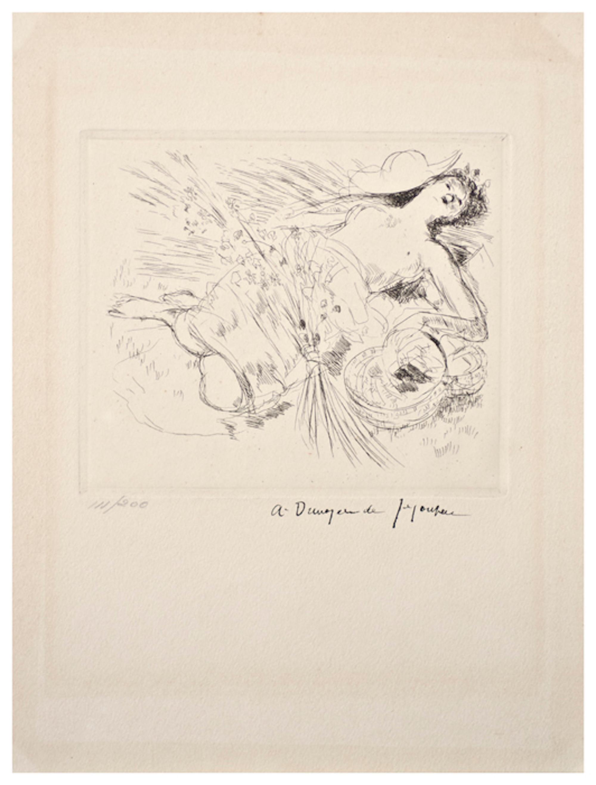In Versum Distulit Ulmos - Original Etching by Dunoyer de Segonzac - 1944/47