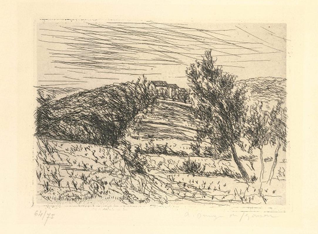 La colline de Sainte Anne - Original Etching by Dunoyer de Segonzac - 1925