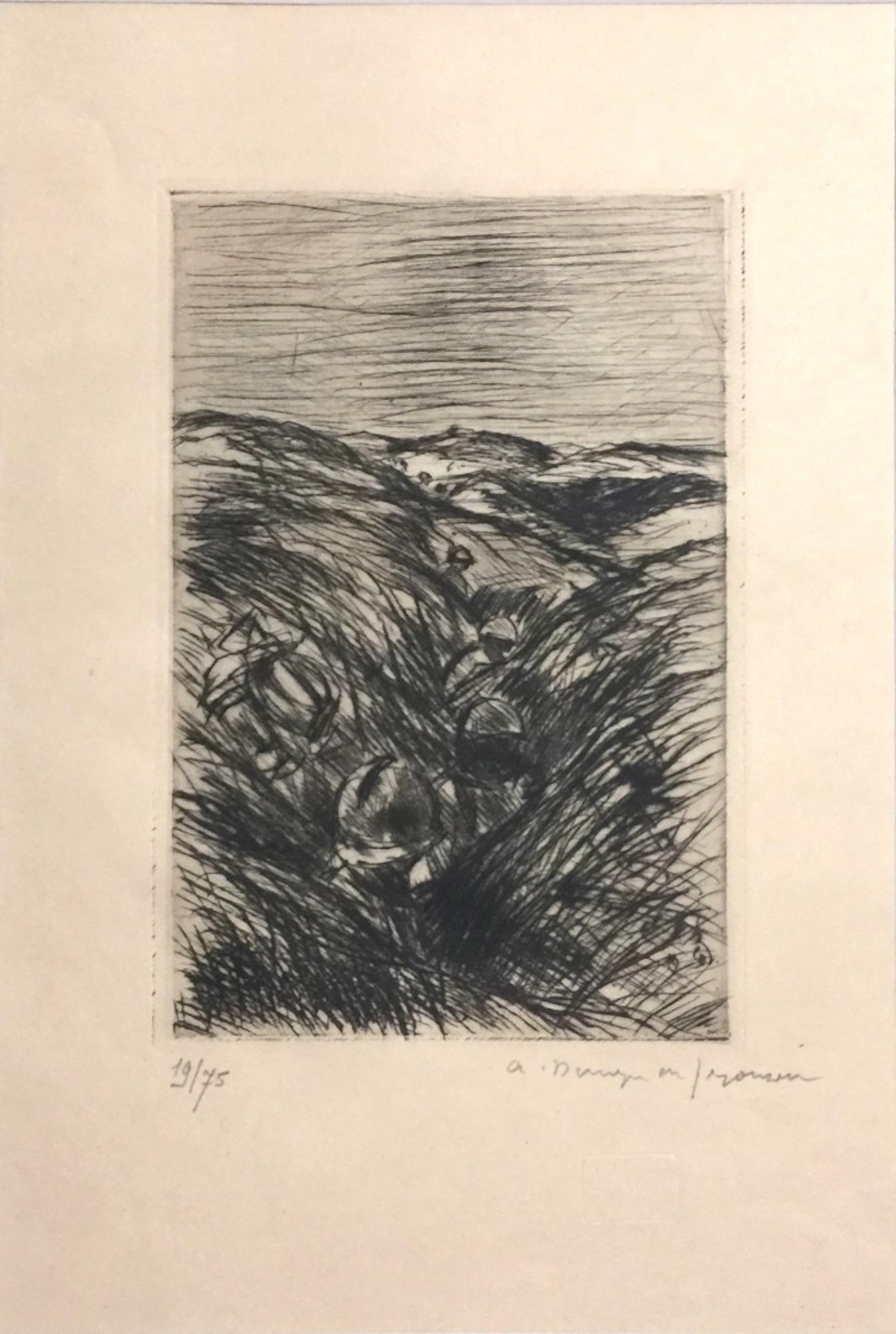 Le Blessé dans la Tranchée  - Original Etching by Dunoyer de Segonzac - 1940s