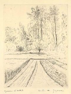 Le jardin du Luxenbourg - Original Etching by Dunoyer de Segonzac - 1970s