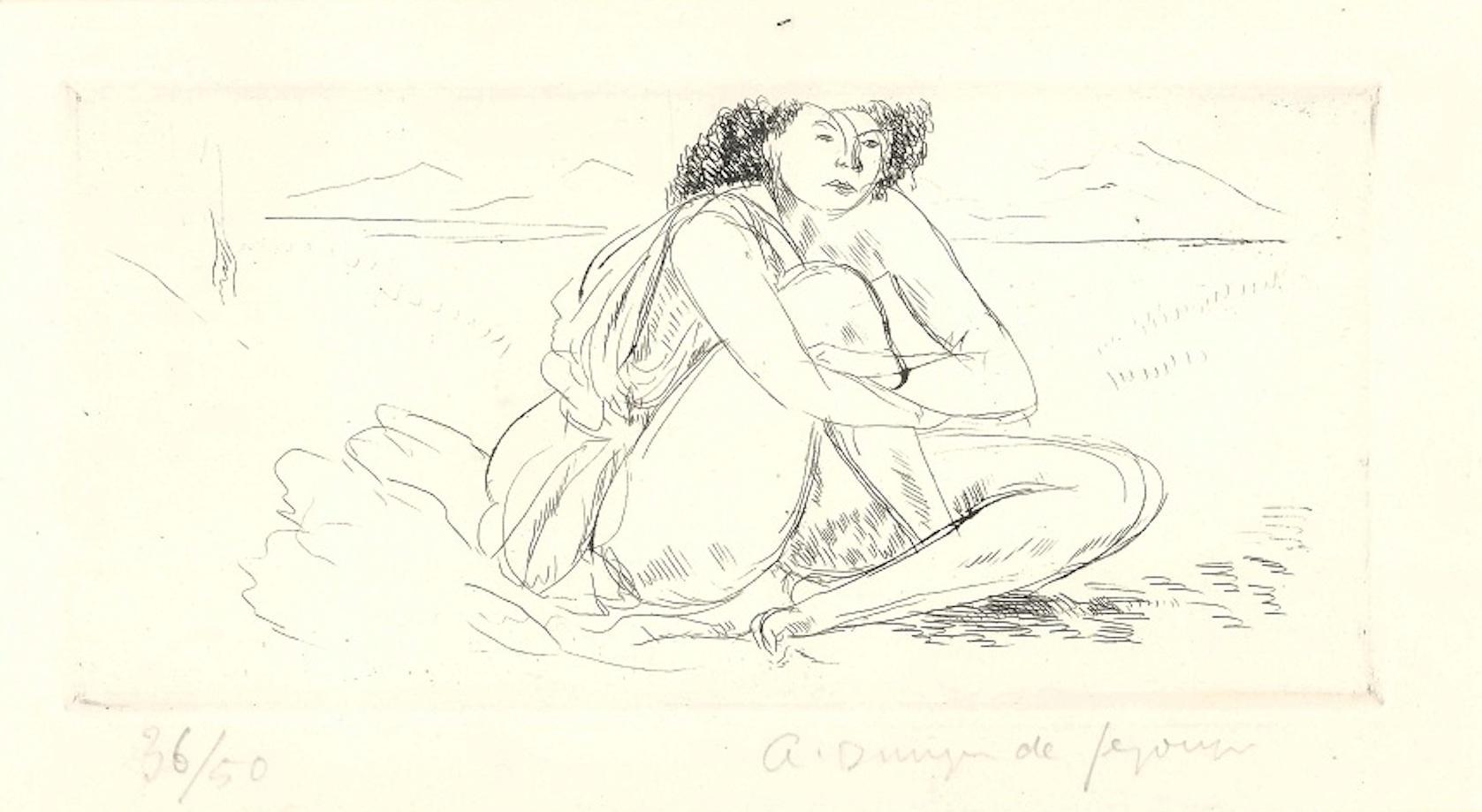 Nu Accroupi - Original Etching by Dunoyer de Segonzac - 1930