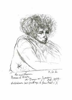 Pensive Man - Original Lithograph after André Dunoyer de Segonzac - 1982