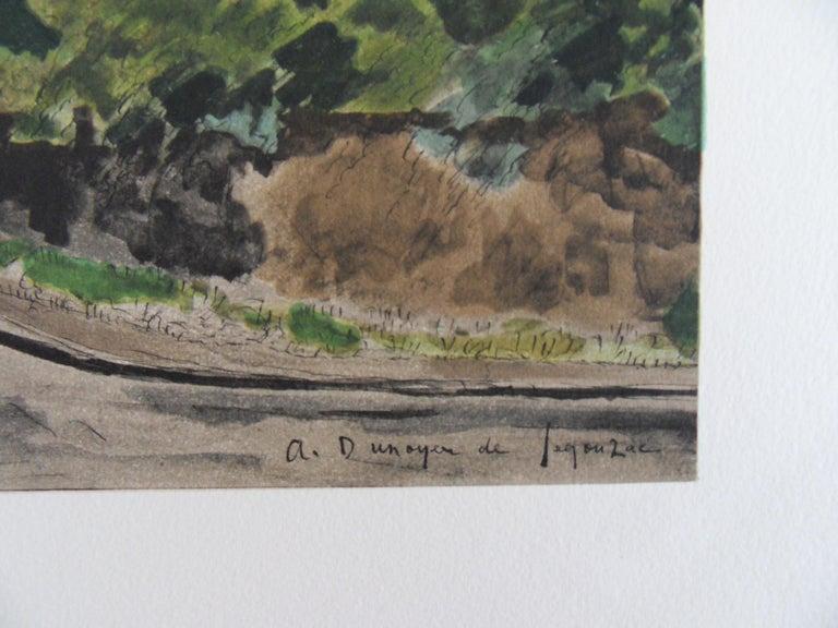 Small Village - Stone lithograph - Mourlot 1965 - Print by André Dunoyer de Segonzac