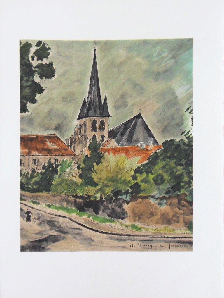 André Dunoyer de Segonzac Figurative Print - Small Village - Stone lithograph - Mourlot 1965
