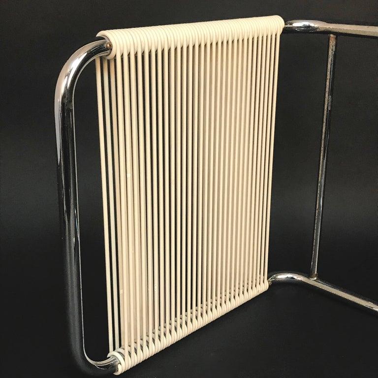 Andre Dupre Bauhaus Chromed Tubular Steel and White Plastic Stool, Knoll 1960s For Sale 4