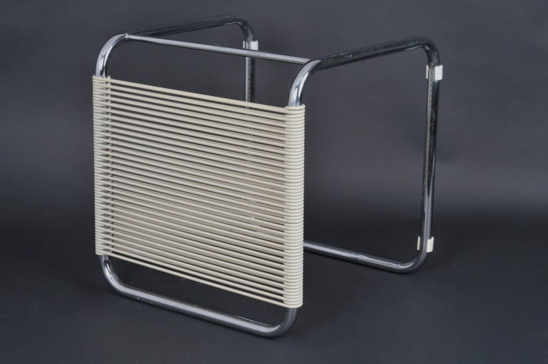 Central American Andre Dupre Bauhaus Chromed Tubular Steel and White Plastic Stool, Knoll 1960s For Sale