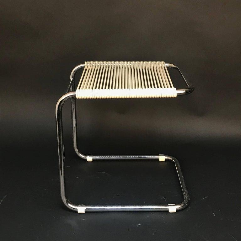 20th Century Andre Dupre Bauhaus Chromed Tubular Steel and White Plastic Stool, Knoll 1960s For Sale