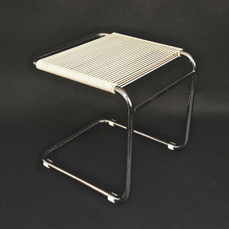 Andre Dupre Bauhaus Chromed Tubular Steel and White Plastic Stool, Knoll 1960s For Sale 1