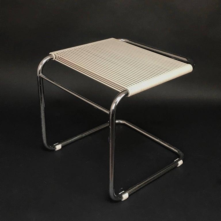 Andre Dupre Bauhaus Chromed Tubular Steel and White Plastic Stool, Knoll 1960s For Sale 3