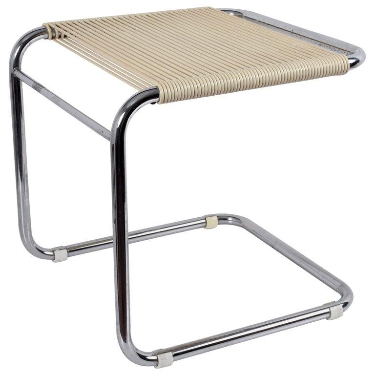 Andre Dupre Bauhaus Chromed Tubular Steel and White Plastic Stool, Knoll 1960s For Sale