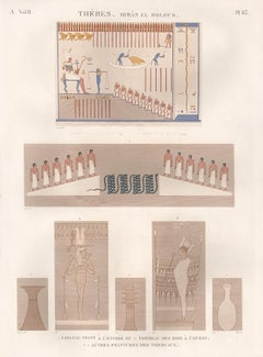 Ancient Egyptian tomb paintings, Thebes. Early 19th century engraving, 1820