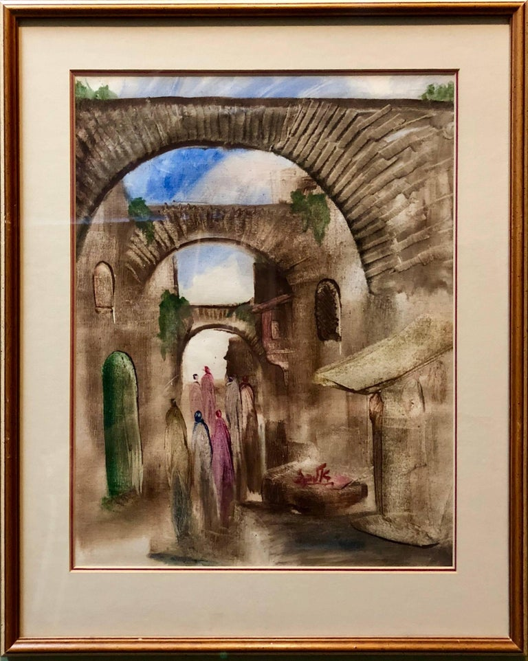 Jerusalem Old City Landscape, Expressionist Judaica Israeli Painting - Brown Figurative Painting by Andre Elbaz