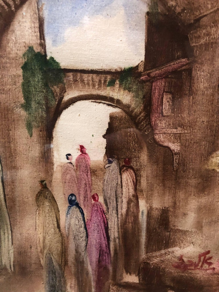 In this painting the artist uses gestural brushstrokes, which causes distortion and exaggeration for emotional effect. Andre Elbaz uses as his subject figures walking in old city Jerusalem.  André Elbaz (born April 26, 1934, El Jadida, Morocco) is a
