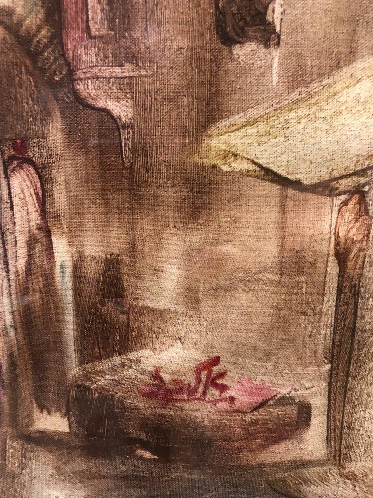 Jerusalem Old City Landscape, Expressionist Judaica Israeli Painting For Sale 1